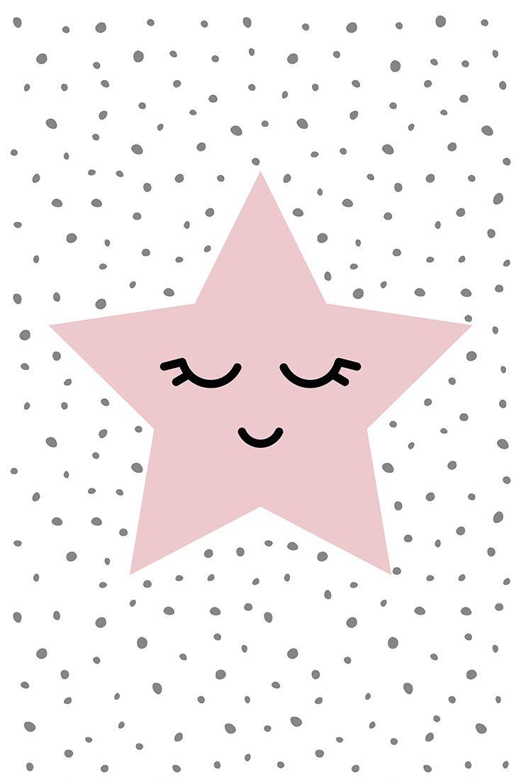 Pink nursery decor, Little star, Star poster, Nursery wall art, Sweet dreams, Baby shower printable art, Star print