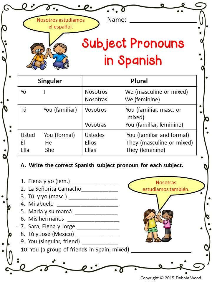 spanish subject pronouns worksheets and posters debbie wood spanish resources spanish. Black Bedroom Furniture Sets. Home Design Ideas