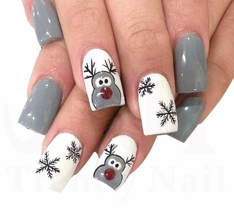 Nail Art Water Decals Stickers Christmas Black Gre