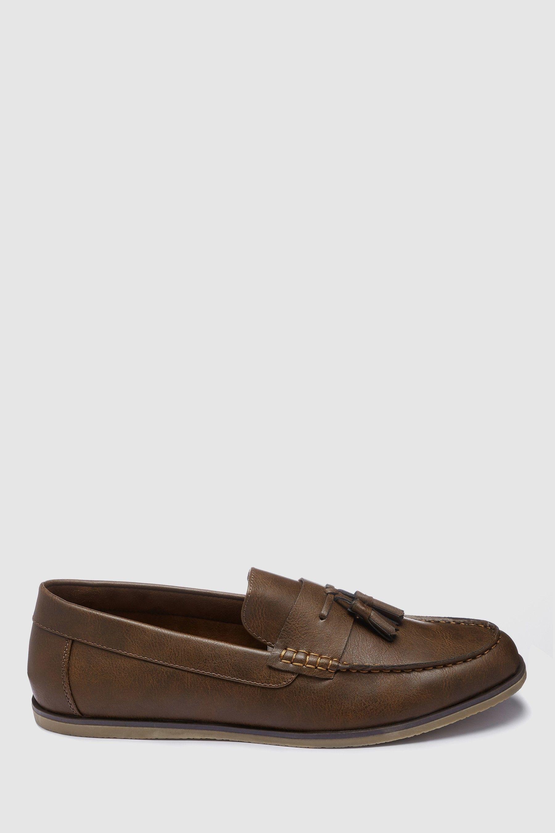 Mens Next Brown Tassel Loafers - Brown