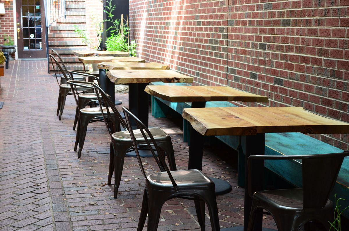 Outdoor Maple Slab Restaurant Tables Restaurant Patio Woods