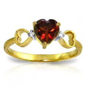 Genuine 0.96 Ctw Garnet & Diamond Ring Jewelry 14kt