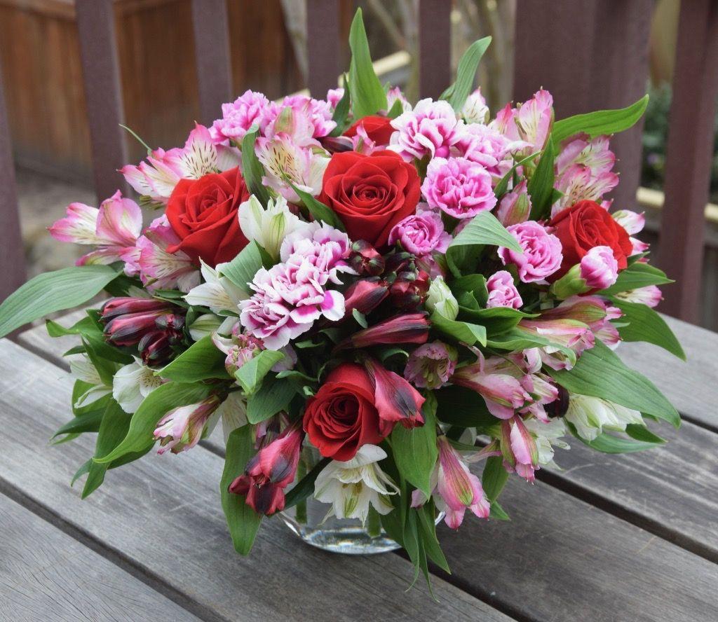Lush Flower Arrangement With Roses Alstroemeria Mini Carnations Valentine Flower Arrangements Flower Arrangements Simple Fresh Flowers Arrangements