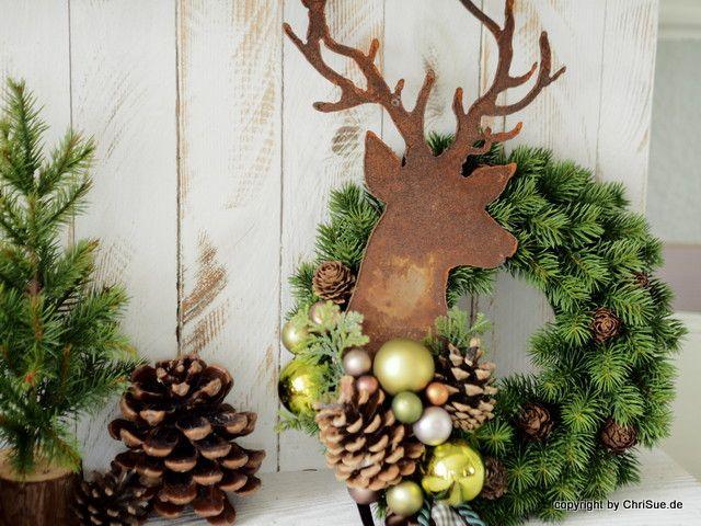 Weihnachtsdeko t rkranz ein designerst ck von chrisue - Dawanda weihnachtsdeko ...