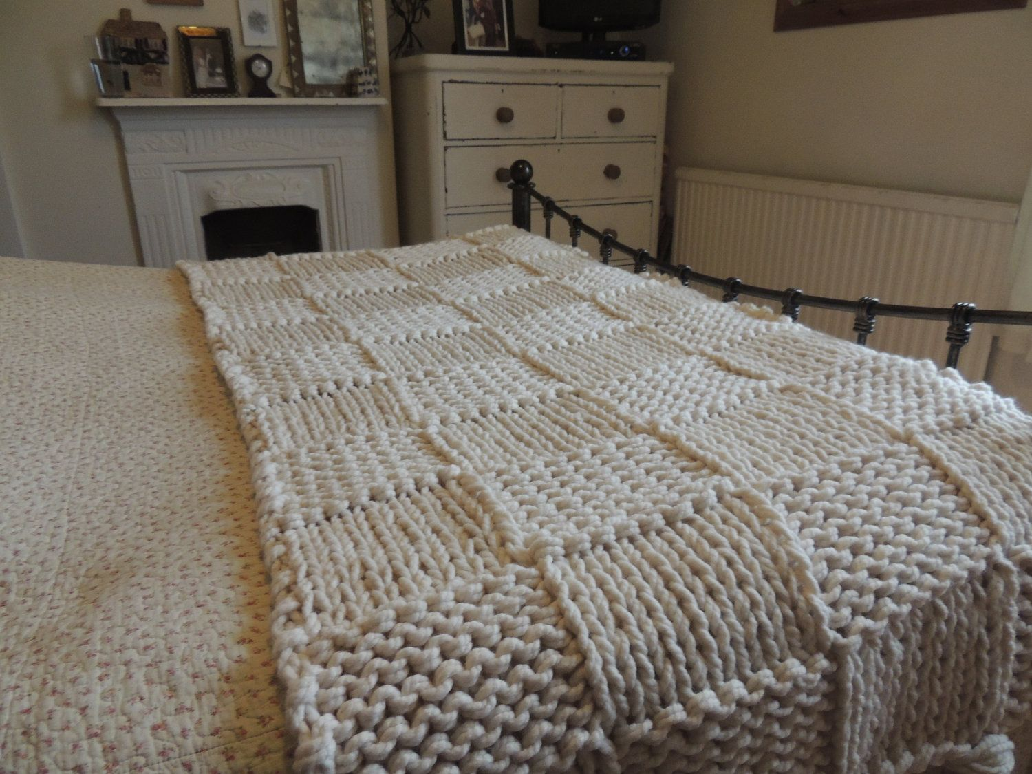 King Size Bed Throws Chunky Cream Hand Knitted Blanket Double And King Size Bed Throw