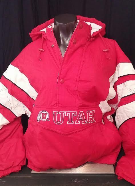Starter Jacket vintage University of Utah coat pullover zip off hood red utes M #Starter #UtahUtes