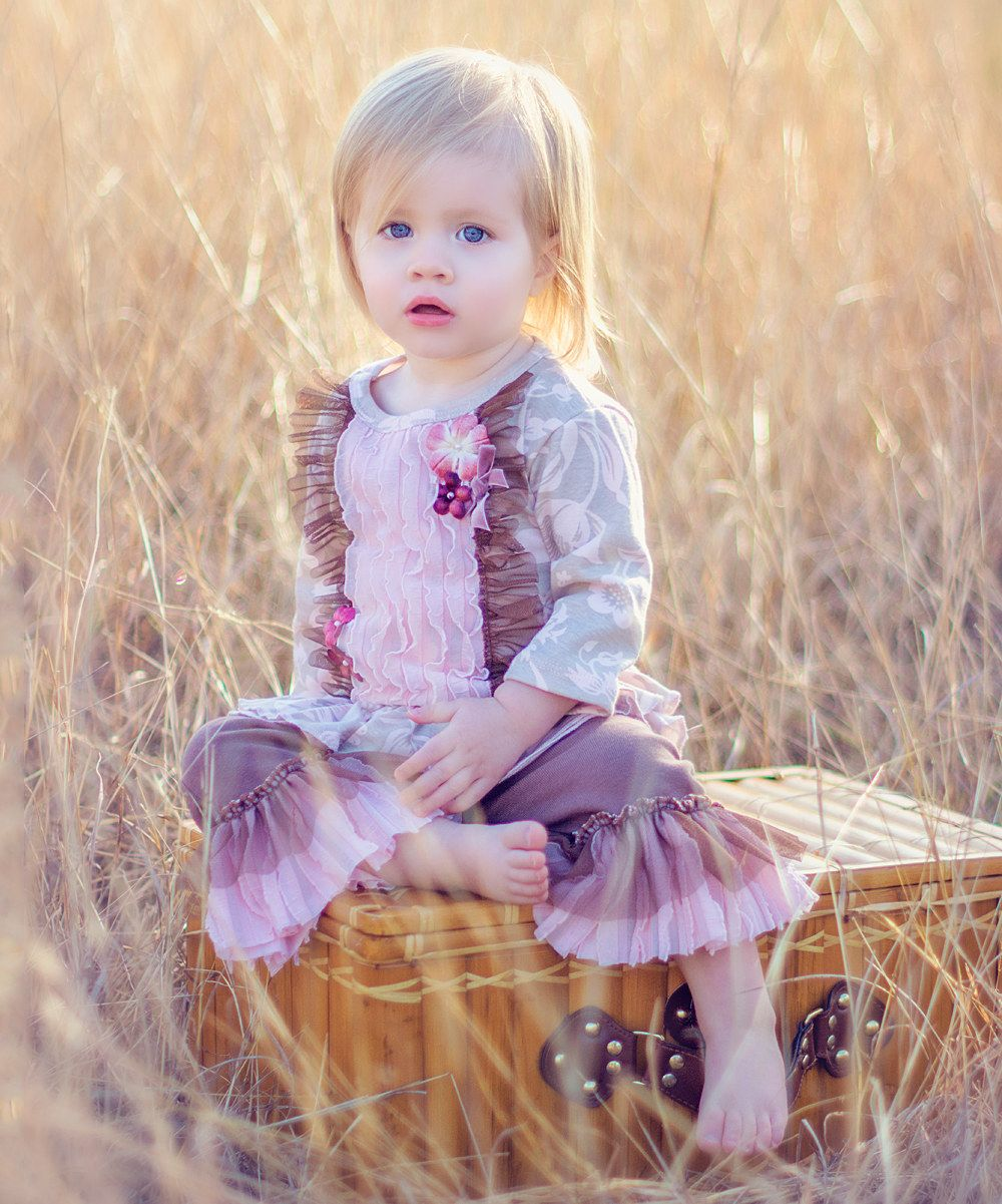 Haute Baby Lavender Ruffle Tunic & Leggings//