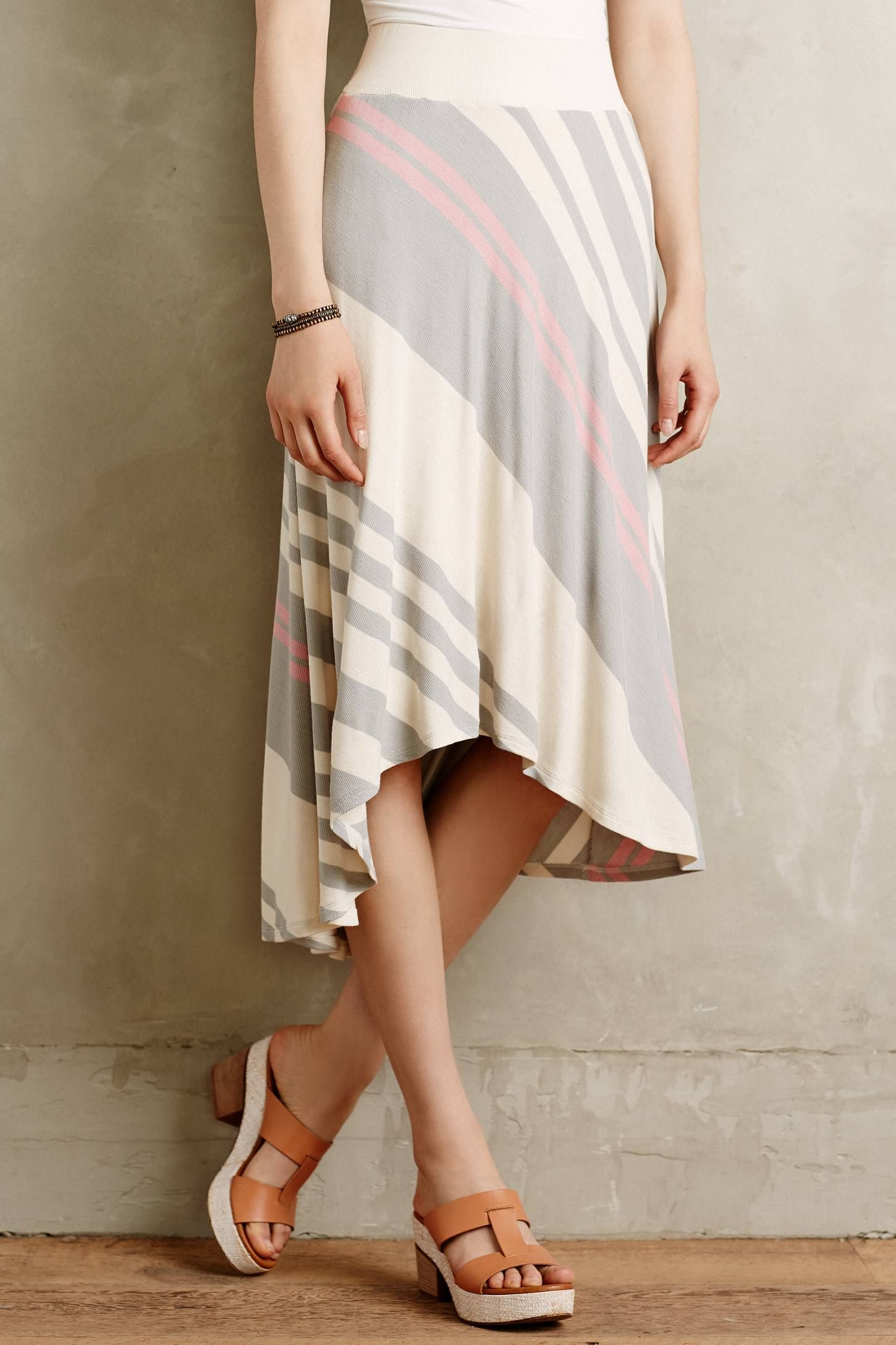 at anthropologie Seastripe Skirt - natural motif