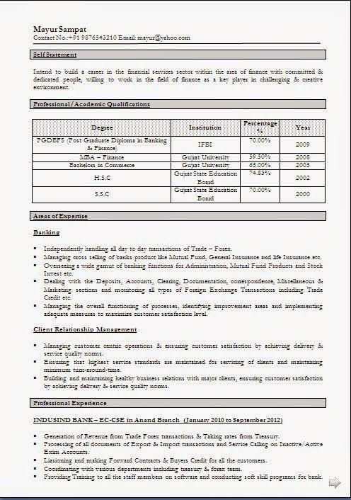 cv personal statement examples Sample Template of Excellent - resume format for freshers download