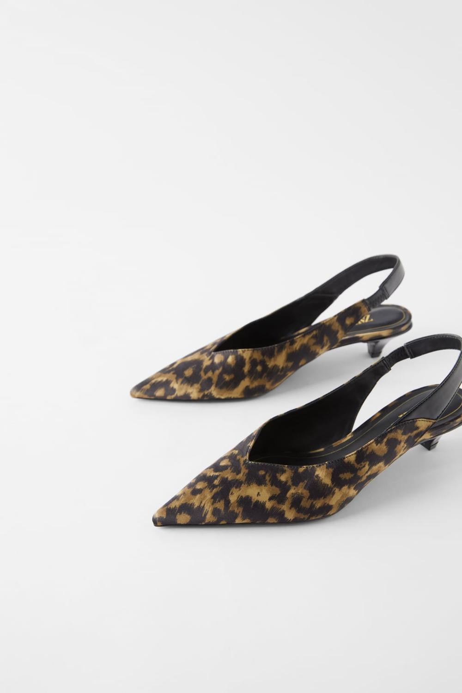 Slingback Kitten Heel Shoes In Animal Print Woman Shoes Bags New In Zara United States Kitten Heel Shoes Heels Slingback