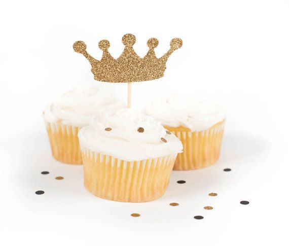 Princess Crown Cupcake Toppers  Gold Glitter by KFrancoEvents