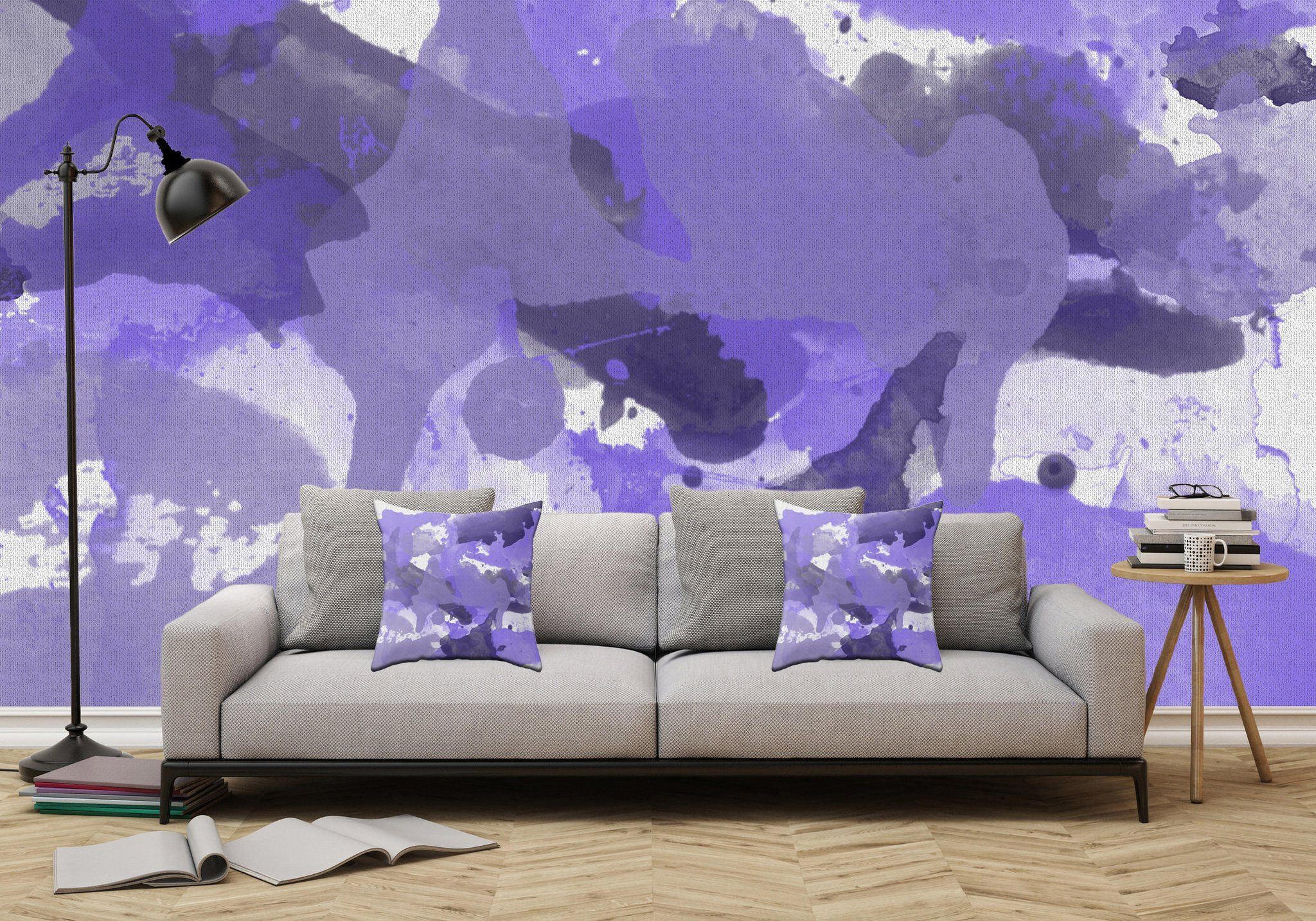 Purple Splatters Watercolor Patches Adhesive Wallpaper
