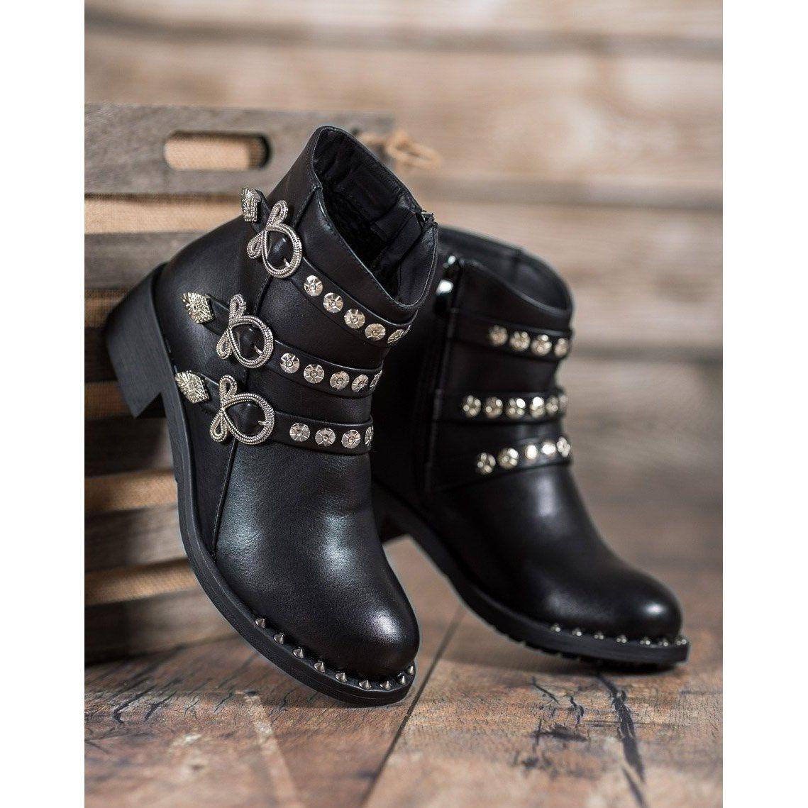 Forever Folie Botki Z Cwiekami Czarne Biker Boot Boots Shoes