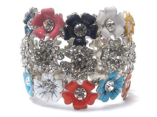 Multicolor Three line crystal and acryl fashion flowers stretch bracelet