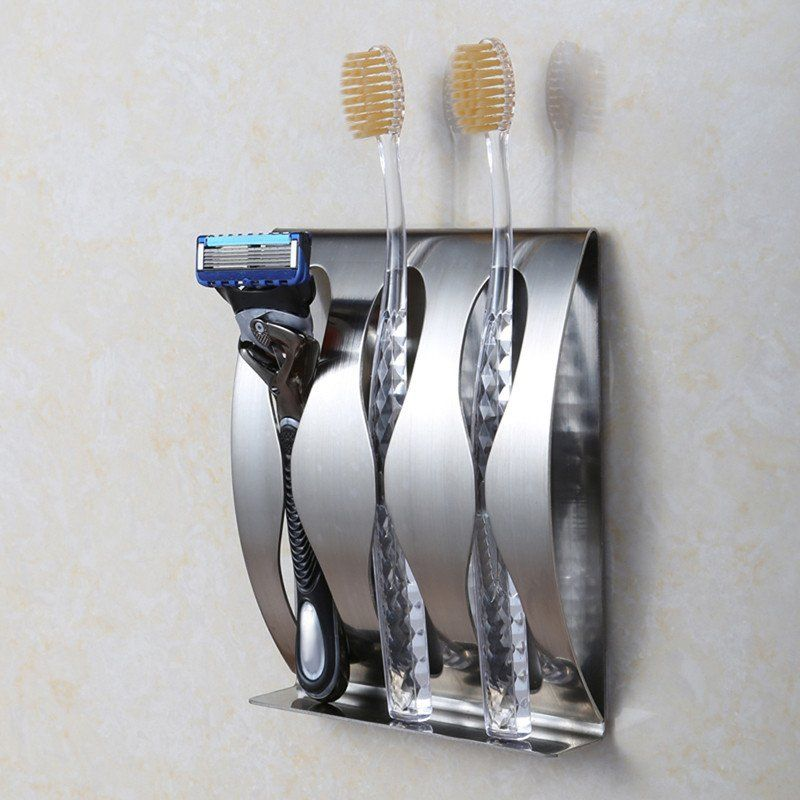 Stainless Steel Wall Mount Toothbrush Holder 3 Position Self Adhesive Tooth Brush Stainless Steel Bathroom Accessories Bathroom Toothbrush Holder Wall Mounted Toothbrush Holder