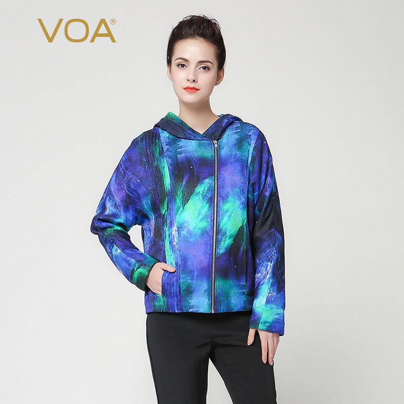 Find More Down & Parkas Information about VOA luxury silk short hooded parka for women blue and cyan straight zippers cotton padded clothes winter thickening coat M7253,High Quality parka coats for men,China parka outerwear Suppliers, Cheap parka women from VOA Flagship Shop on Aliexpress.com