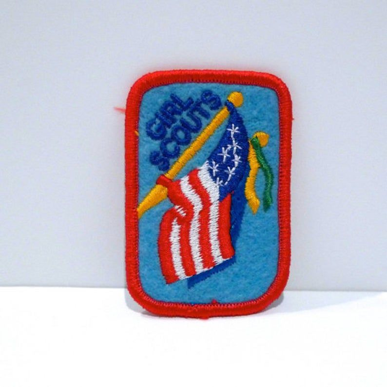 The Official Girl Scouts of America Wavy American Flag Patch NEW