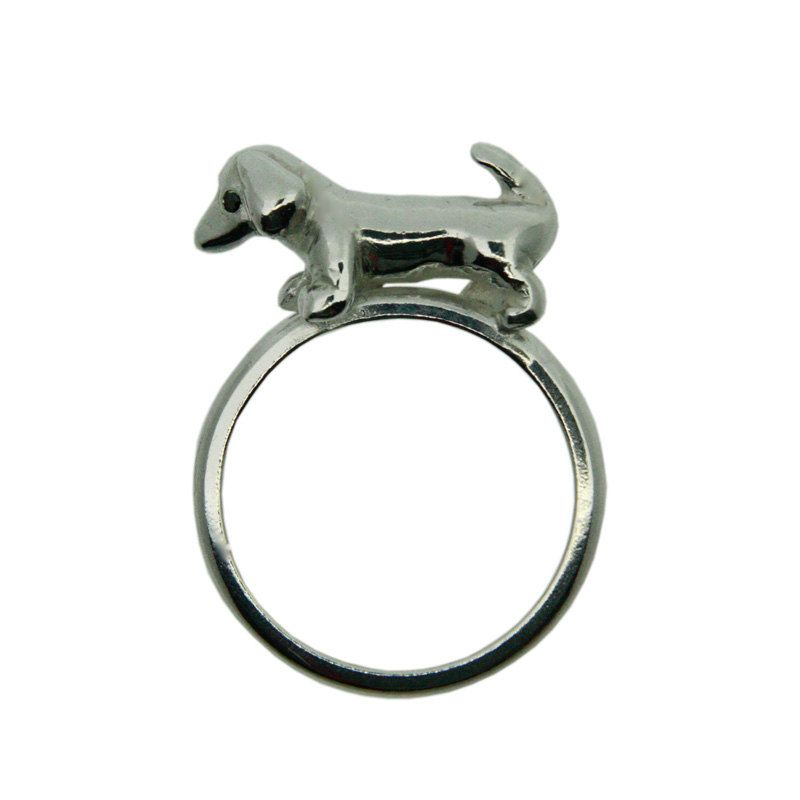 Sausage Dog Ring. Hand crafted in Silver with Black Diamond eyes..