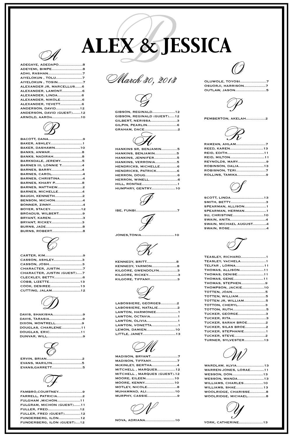 Wedding Seating Chart Reception Template Vertical Or Horizontal