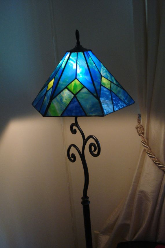 Blue And Green Six Panel Stained Glass Lamp Shade Stained Glass Lamp Shades Stained Glass Lamps Glass Lamp