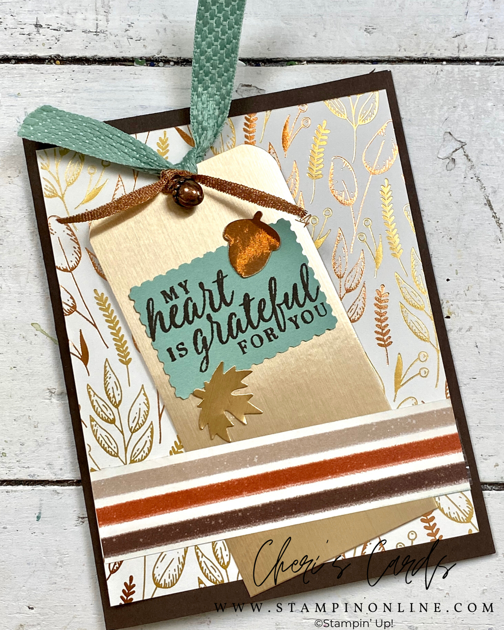 Gilded Autumn Video Try It Online Class Stampin Up Bookmark Card Holiday Catalog Stampin Up Project