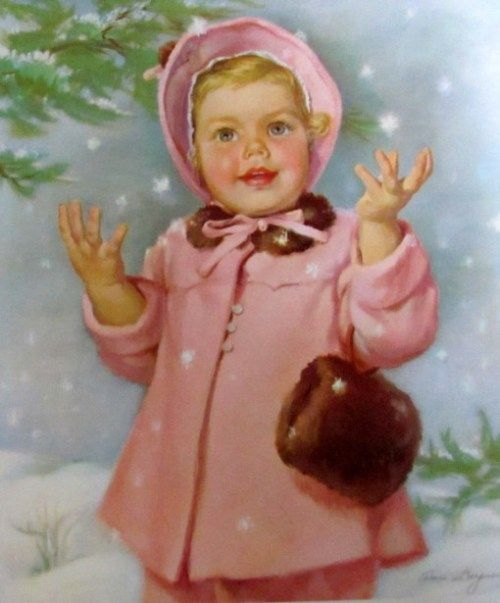 Baby Girl In Snow With Fur Muff     Ariane Beigneux (1918 – 2011, American)