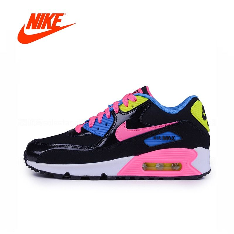 new style 0340d 379c1 Original New Arrival Authentic Nike Air Max 90 GS Black Rainbow For Women  94.49 ...