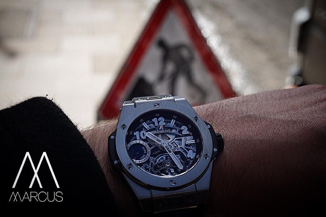 Man at work! The Hublot Big Bang Unico Tourbillon Power Reserve 5 Days in titanium. Limited to 99 pieces worldwide. #watchcollector #watch #watchgeek #watchporn #womw #wotd #timepiece #horology #luxurylifestyle #marcuswatches #hublot #tourbillon #titanium #limited #powerreserve #power #reserve #bigbang #big #bang #unico #limitededitionfriday by marcuswatches
