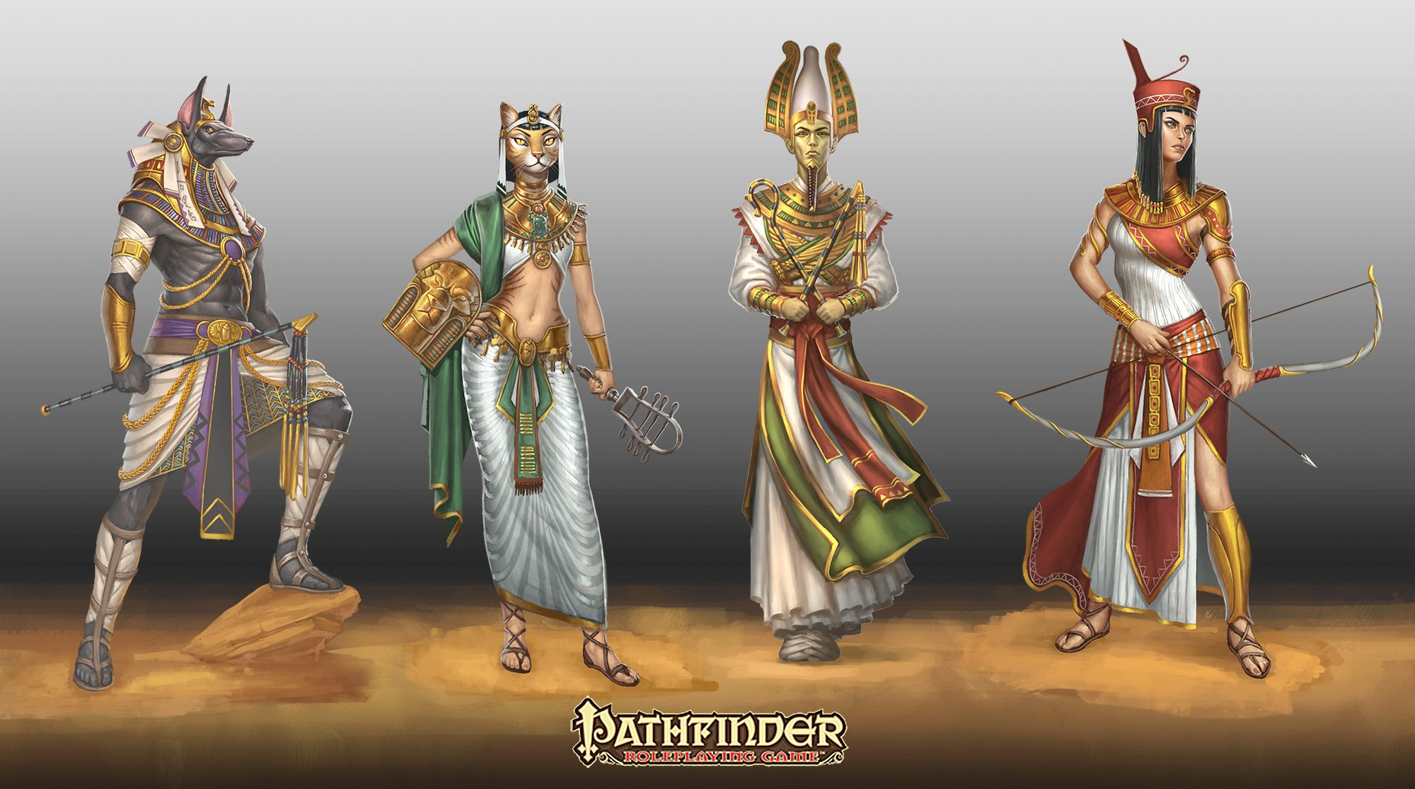 Fantasy Gods Ancient Egypt Egyptian Neith Osiris Bastet Anubis Wallpaper