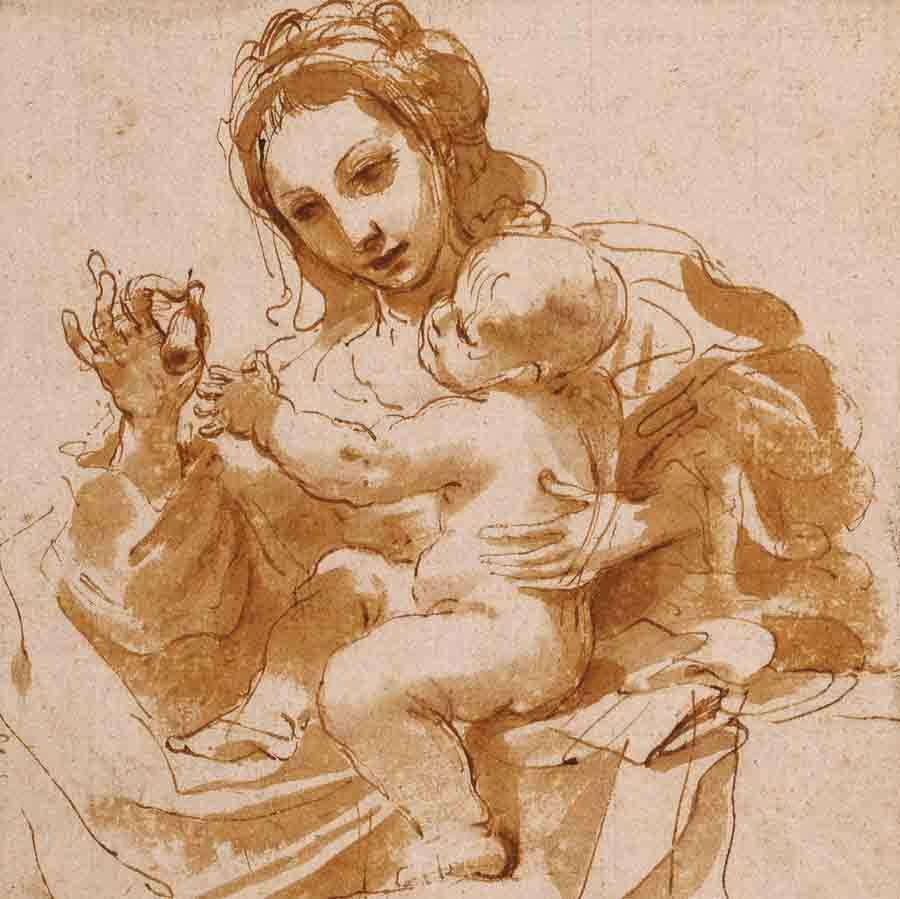 Giovanni Francesco Barbieri, dit Guercino (1591- 1666), Vierge à l'Enfant, musée du Louvre