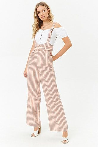 7606ff80b Ruffle Suspender Jumpsuit | Forever 21 Jumpsuit Outfit, Pant Jumpsuit,  Stripped Pants, Striped
