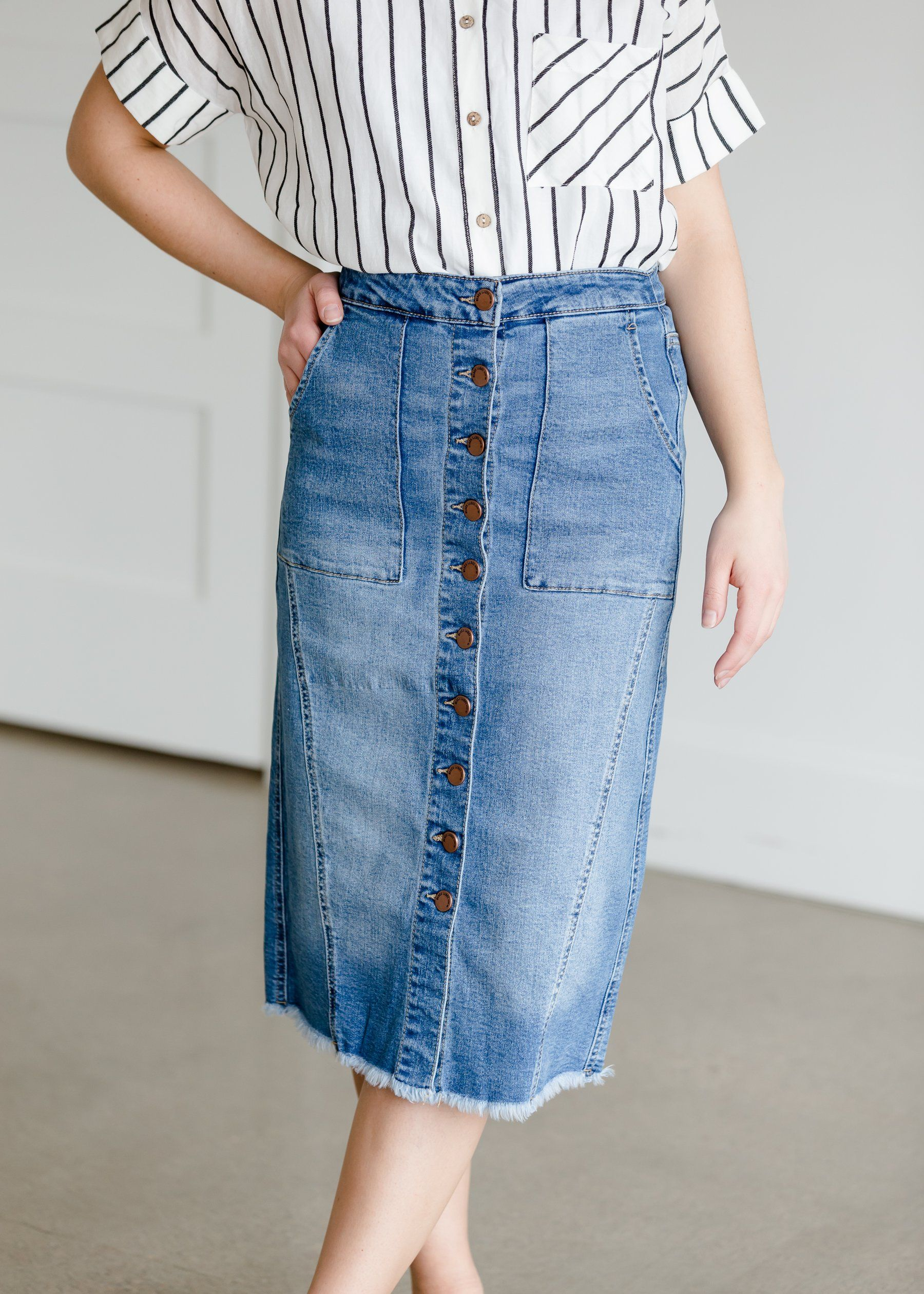 Button Patch Pocket Denim Jean Skirt