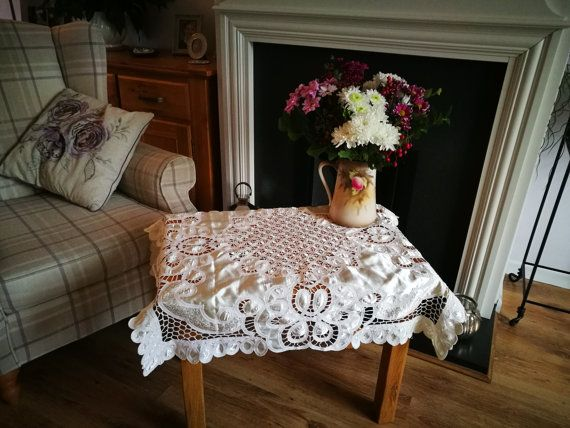 Vintage Lace Tablecloth Table Cloth, Small Square Tablecloth, Beautiful Cut  Out Lace Satin Tablecloth