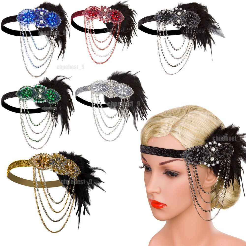 Great Gatsby Headband Vintage Party Cocktail Dresses 1920s Womens ...