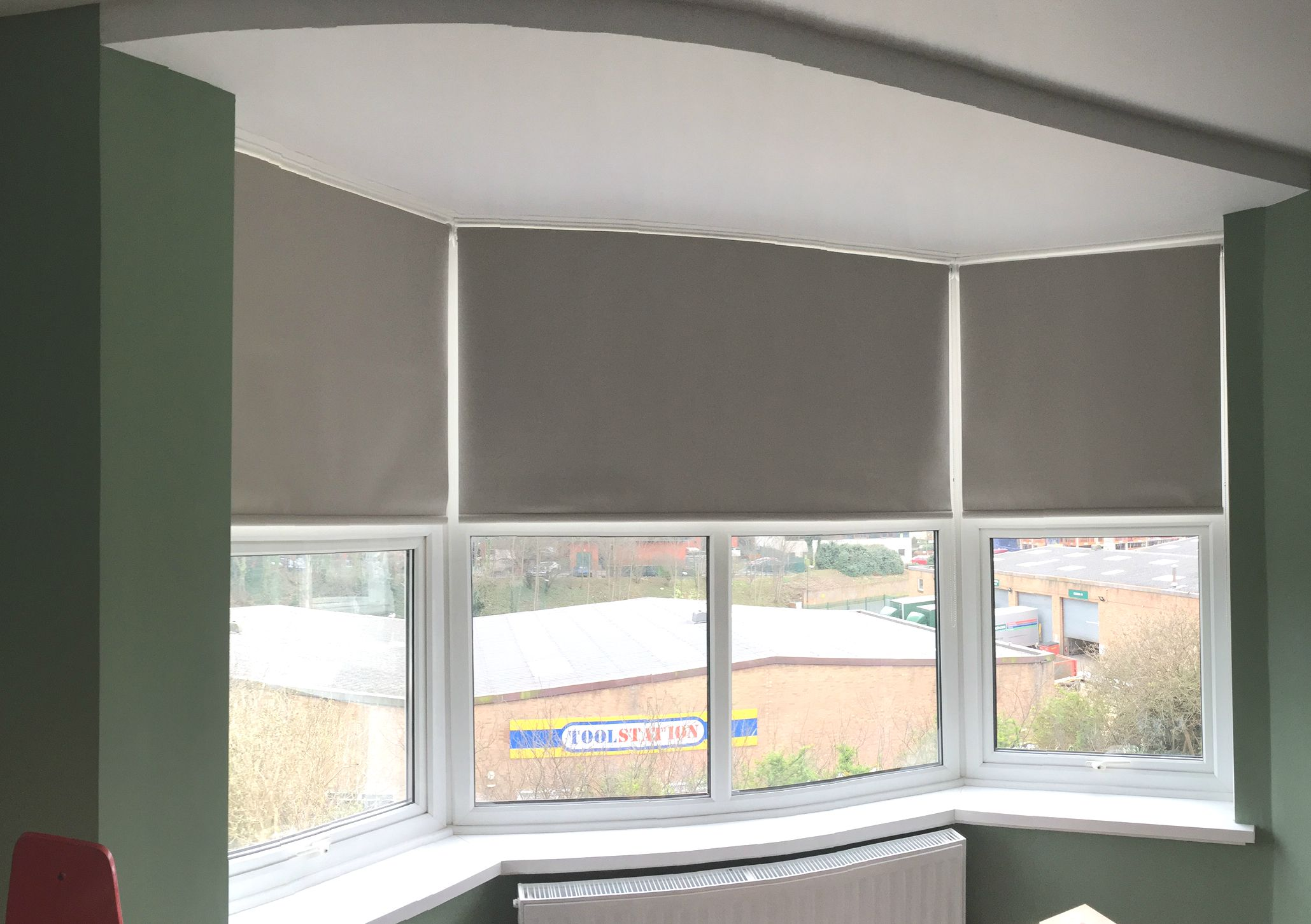 Blackout Roller Blinds For Bay Window Bedroom In Flint Grey Colour Made To Measure