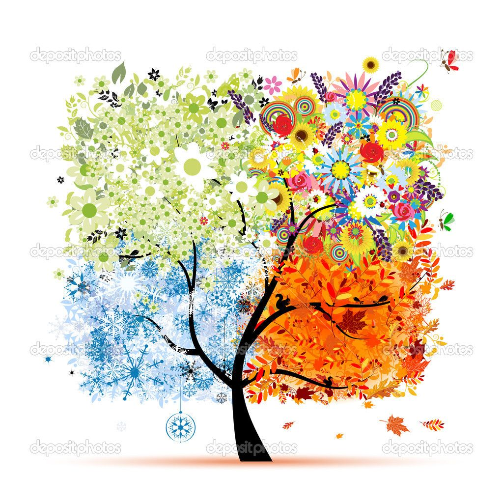 Vier Jahreszeiten Fruhling Sommer Herbst Winter Kunst Baum