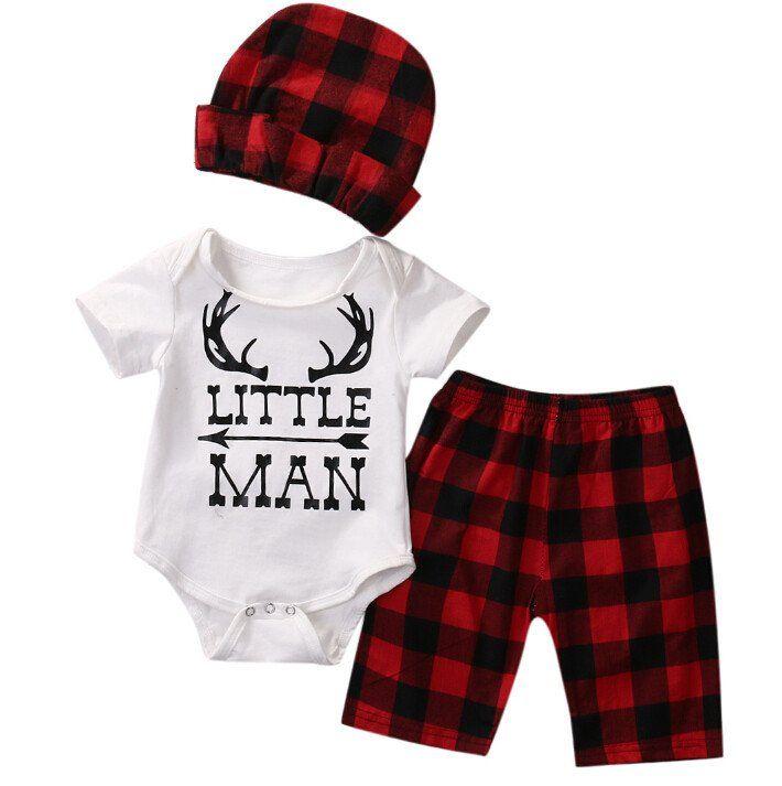Buffalo Plaid Little Man Set Summer Baby Clothes Baby Boy Buffalo Plaid Baby Girl Newborn