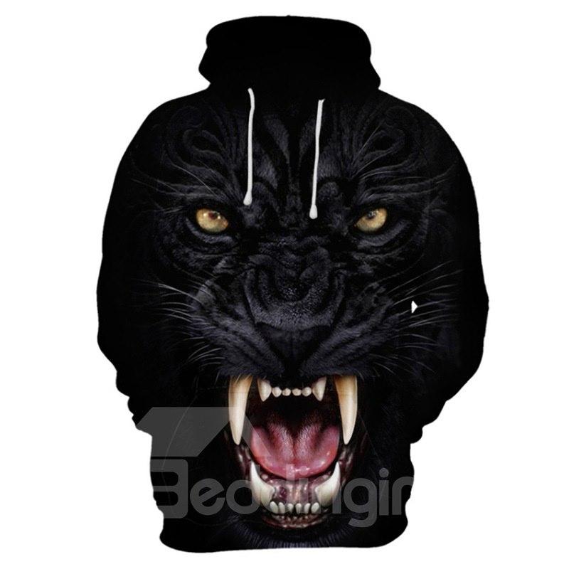 Realistic 3D Black Leopard Print Cool Pullover Hoodies