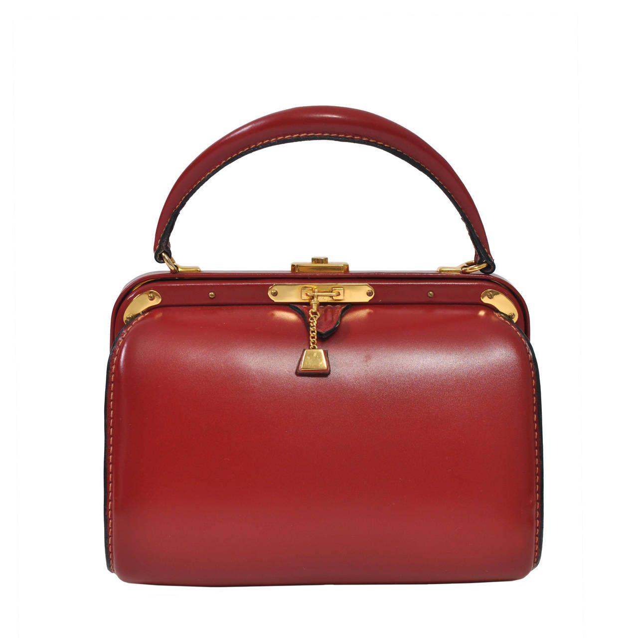 0c123fc79567 Lederer 1960s Red Leather Handbag