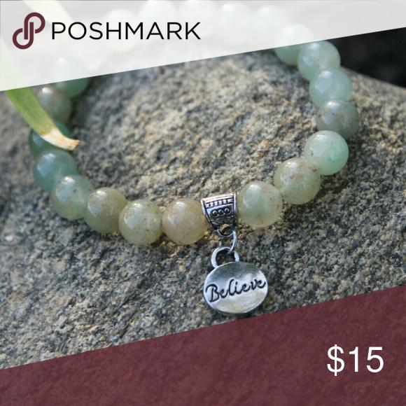 "Believe charm bracelet ""Sometimes you just need to believe""  Handmade light green silver ""believe"" charm bracelet Jewelry"