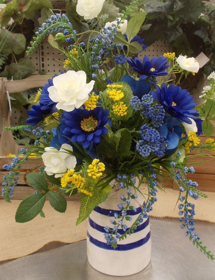 A bright and cheery centerpiece for easter blue flower