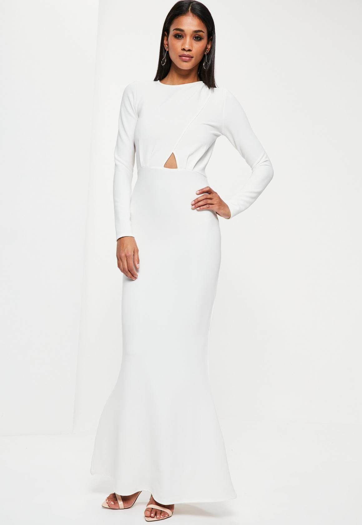Missguided White Long Sleeve Backless Maxi Dress | Pinterest ...