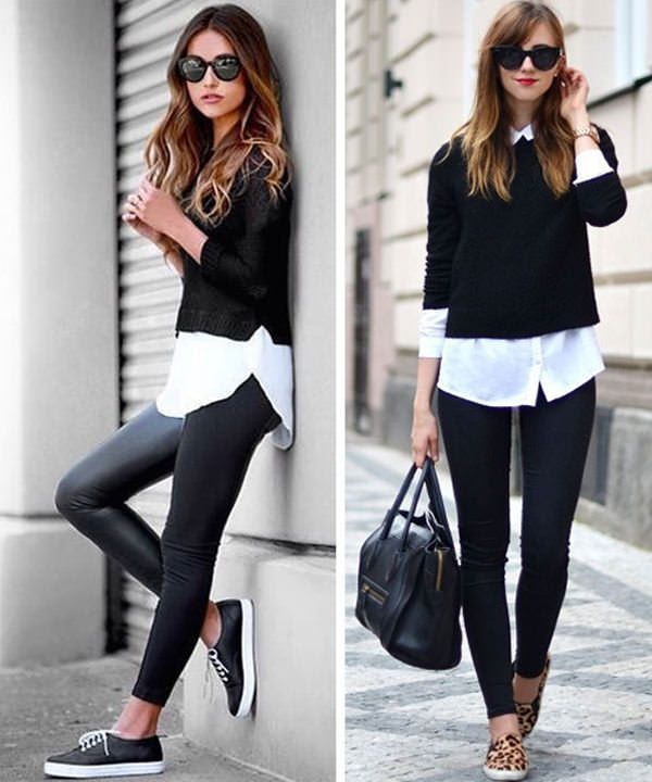 eb2c4cd9f7c ... Outfit Ideas - LooksGud. Black leather leggings with crisp white button  down layered with black cropped sweater  Black  LeggingsOutfit  Fashion