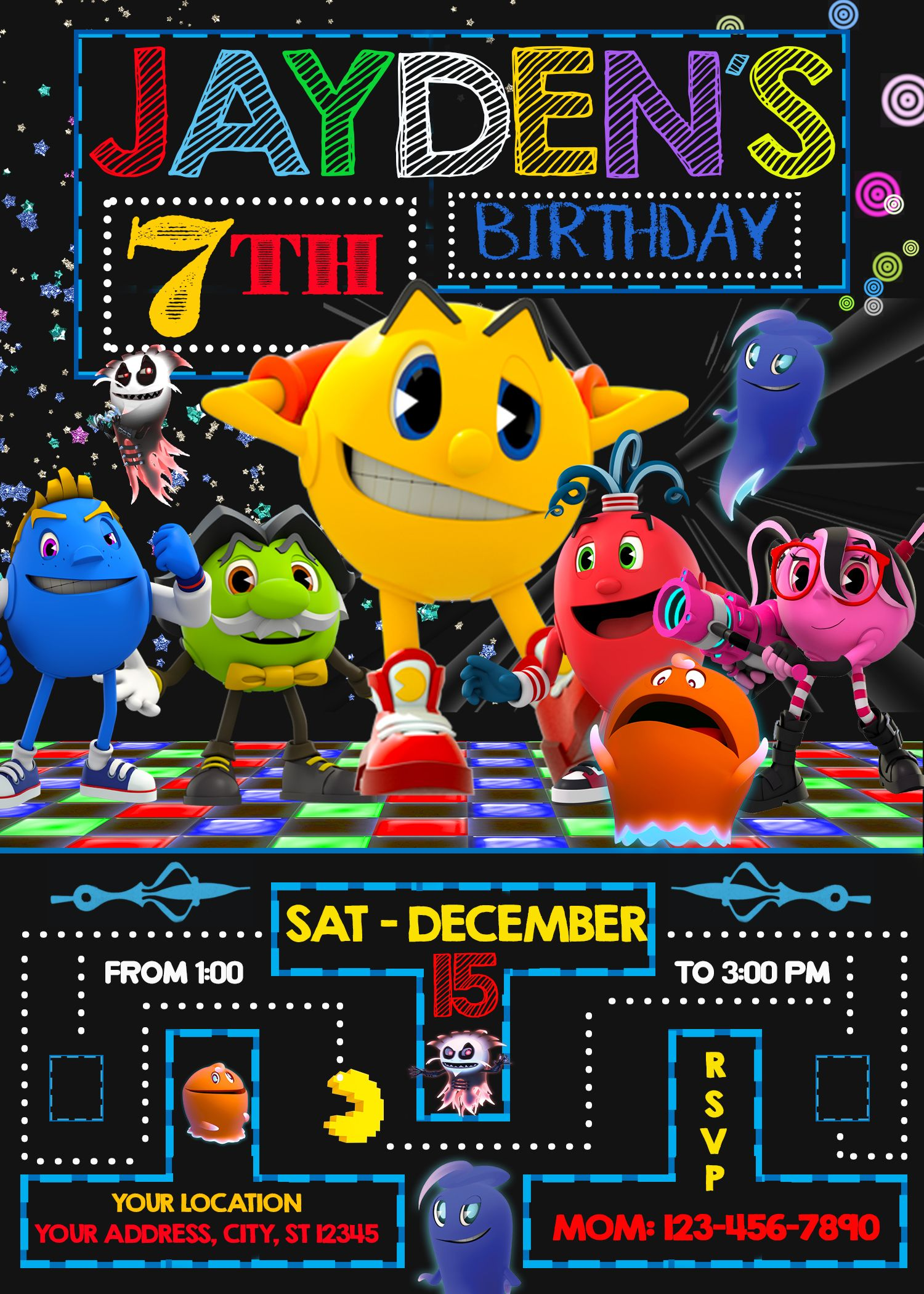 Pacman and the Ghostly Adventures Birthday Invitation