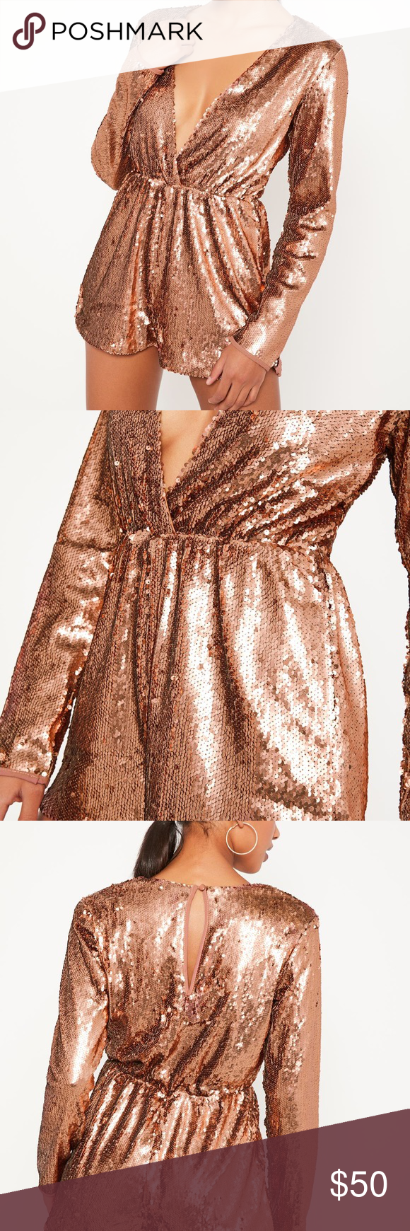 Rose gold sequin wrap long sleeve romper long sleeve romper pant