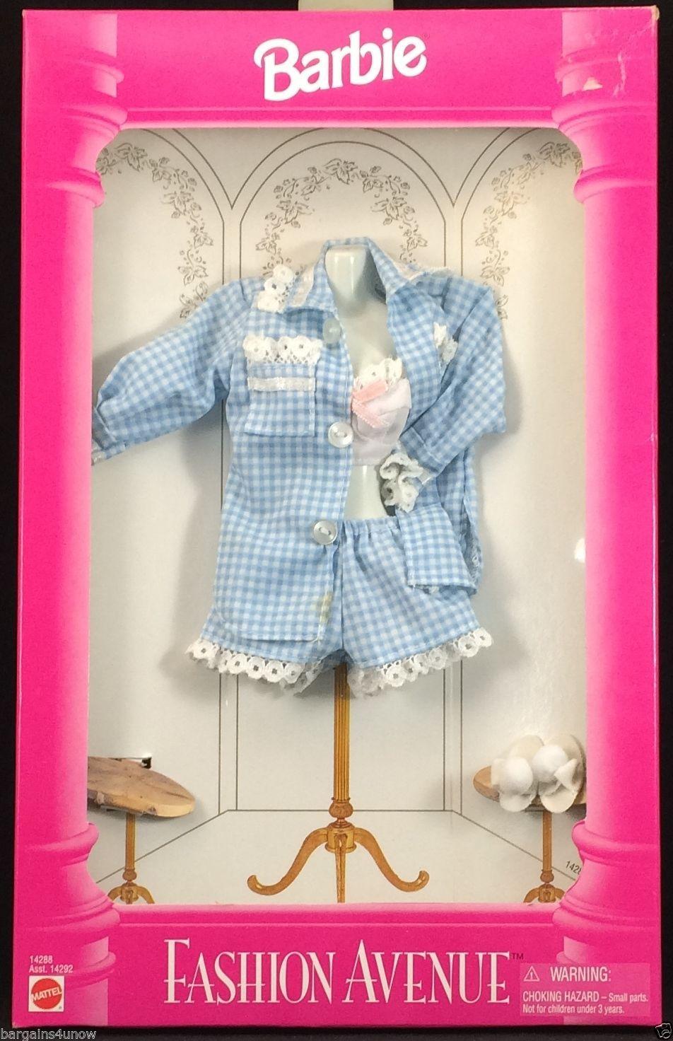 Barbie Fashion Avenue Blue Gingham Pajama Shorts Set Accessories Nrfb Fashion Avenue Vintage Barbie Clothes Barbie Fashion