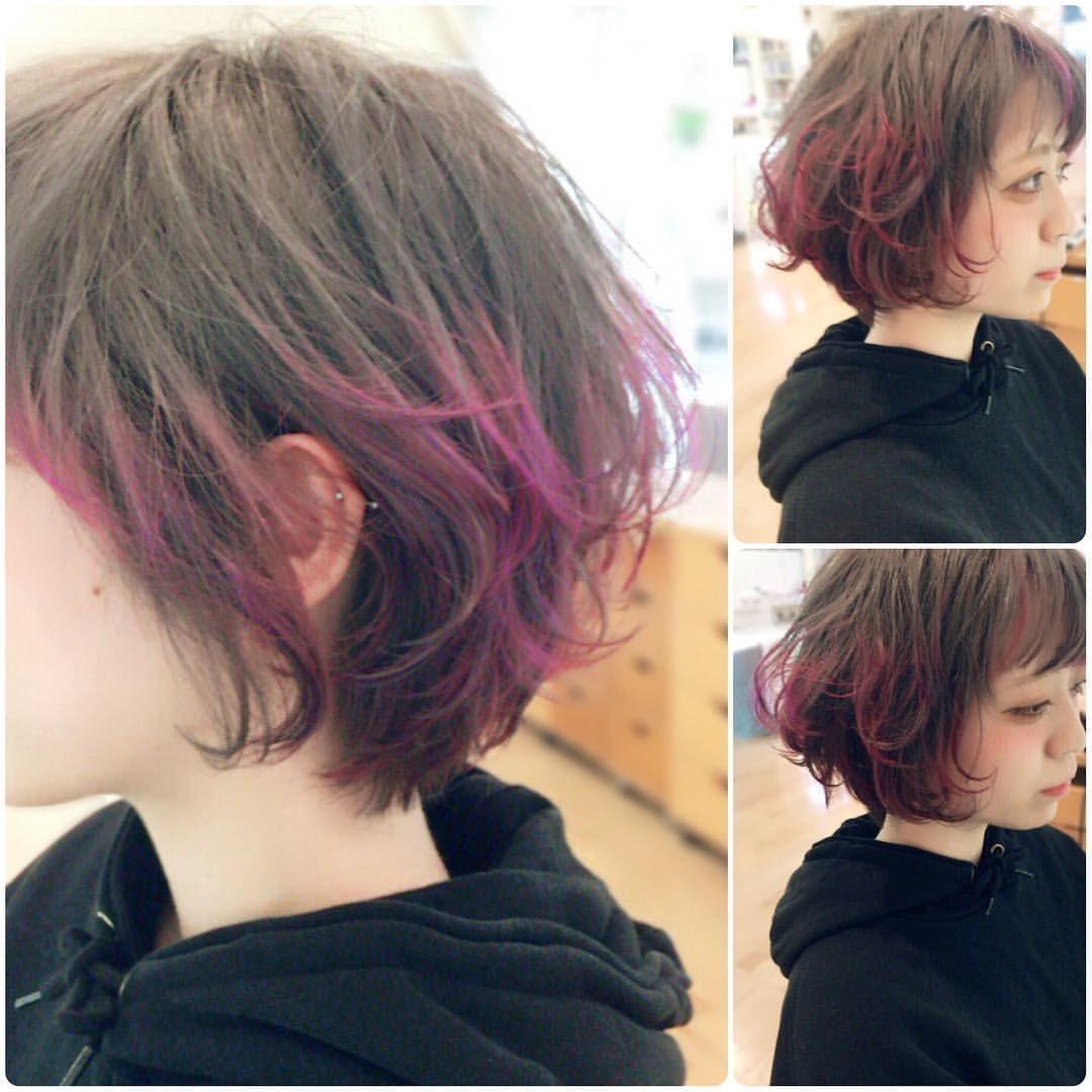 レッドバイオレット ピンクグラデーションカラー ショートボブをくせ毛