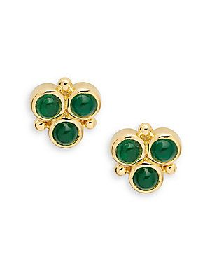 Temple St  Clair Emerald & 18K Yellow Gold Post Back