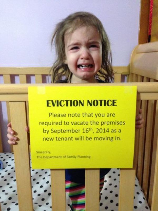 Pregnancy Reveal: Crib Eviction Notice