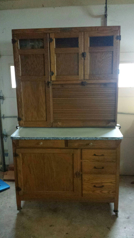 Antique Oak McDougall Hoosier Cabinet with \